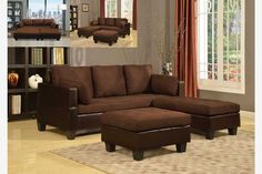 Brown Soft Microfiber Leather Sectional Sofa Reversible Chaise Ottoman