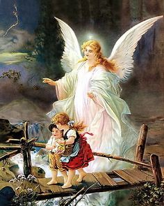 Art Print c19th Victorian Children Crossing Bridge Protected by Guardian Angel