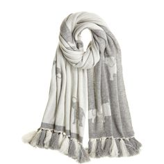 CALYPSO St. Barth Cashmere Elephant Scarf ($425) ❤ liked on Polyvore featuring accessories, scarves, schlunif, gray shawl, grey shawl, elephant scarves, cashmere shawl ve calypso st. barth