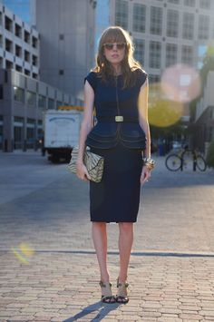 blue peplum dress. Love the zipper detail, the clutch and the shoes!