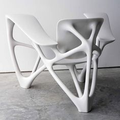 The Bone Armchair, created in a limited edition of 12 and exhibited by New York gallery Friedman Benda, is moulded from a mixture of marble and porcelain mixed with resin.
