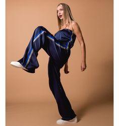 Σατέν Ολόσωμη Φόρμα Strapless - Μπλε-Navy Riga, Fall Winter, Jumpsuit, Dresses, Fashion, Overalls, Vestidos, Moda, Monkeys
