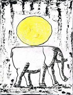 Original elephant painting by M.Sani #animal #art
