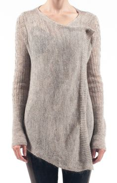 COVERTURE CARDI: FAWN/IVORY - could you do this with a knit skirt turned sideways and seamed in the back, then steek armholes?