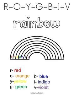 ROYGBIV Science Rainbow Coloring Page | Kindergarten ...