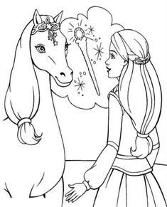 Barbie With Horse Coloring Pages  Barbie Dolls cartoon coloring