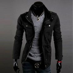 Casual Style Zipper and Buttons Embellished Waist Rope and Pocket Design Solid Color Coat For Men