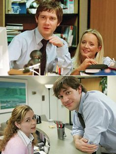 tim and dawn / pam and jim (UK vs. US version of The office) I love them both