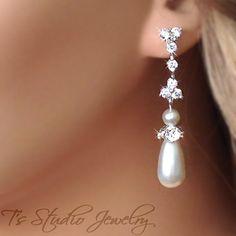 Teardrop Pearl Chandelier Bridal Earrings  MARISSA by TZTUDIO, $45.00