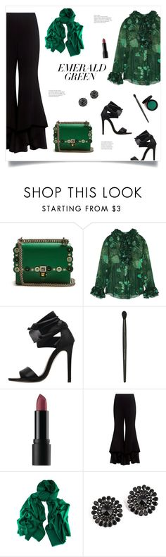 """""""Emerald!"""" by diane1234 ❤ liked on Polyvore featuring Fendi, Anna Sui, Bare Escentuals, Alexis, Black, scarf and popsofgreen"""