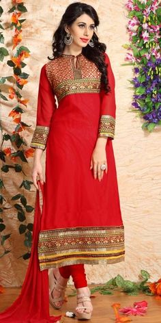 Classy Red Georgette Straight Salwar Suit With Chiffon Dupatta.