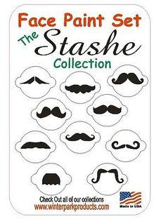10 Piece Mustache Face Paint Set Facepaint Kit Stencils