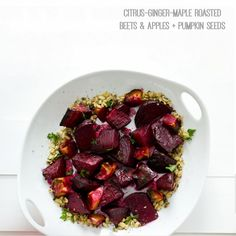 Ginger-Citrus-Maple Roasted Beets & Apples with Pumpkin Seeds.....vegan.