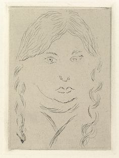 """Henri Matisse """"Irène, with two braids"""" 1914 Etching on chine colle"""