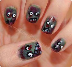 Halloween Nail Art: Zombie Nails. http://momakeup.blogspot.com.es/2013/10/halloween-nail-art-zombie-nails.html