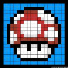 Mushroom Mario perler bead pattern