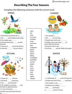 The Four Seasons Description worksheets Seasons Worksheets, Weather Worksheets, Seasons Activities, English Teaching Resources, English Worksheets For Kids, English Activities, Teaching Weather, Weather Vocabulary, Spanish Lessons For Kids