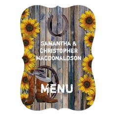 Sunflower Wedding Menu Rustic western cowboy country wedding menu card