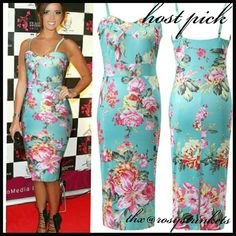 *sale HP Floral Print Dress *just in* Beautiful aqua/turquoise knee length dress with Hawaiian like floral print. Polyester/spandex blend. Please refer to size chart for precise measurements. Fits size 2 to 6 Dresses Midi