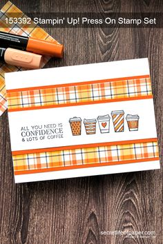 A coffee card to celebrate Pumpkin Spice Latte Season. Created with Stampin' Up! Press On Stamp Set and Plaid Tidings DSP. Instructions and supply list on blog or shop this pin.  #stampinup #stampinupdemo #coffeecards #fallcards #handmadecards #cardmaking Paper Cards, Folded Cards, Paper Crafts Magazine, Horse Cards, Coffee Cards, Fall Cards, Holiday Cards, To Go, Card Sentiments