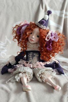 Купить Флави - фиолетовый, бежевый, кукла ручной работы, кукла, кукла в подарок, кукла интерьерная