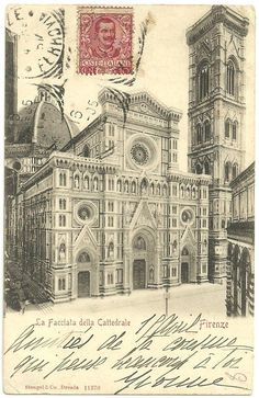 Vintage postcard of Il Duomo in Florence, mailed in 1905, via Berghinz