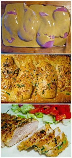The world's best chicken 4 boneless, skinless chicken breasts 1/2 cup Dijon mustard 1/4 cup maple syrup 1 tablespoon red wine vinegar Salt & pepper Rosemary Preheat oven to 425 degrees. In a small bowl, mix together mustard, syrup, and vinegar. Place chicken breasts into 9×13 greased baking dish. Season with salt & lots of pepper. Pour mustard mixture over chicken. Make sure each breast is coated. Bake for about 30-40 minutes. Season with chopped rosemary.