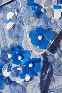 Miu Miu - Floral-appliquéd Silk-blend Cloqué Wrap Dress - Light blue - IT42