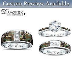 Camo His And Hers Personalized Diamonesk Wedding Ring Set Diamond Wedding Rings, Bridal Rings, Wedding Ring Bands, Hunting Wedding Rings, Camo Rings, Wedding Ring Styles, Wedding Ideas, Wedding Jewelry, Wedding Stuff