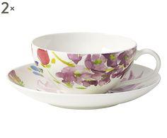 Set di 2 tazze te' con piattino Bloom