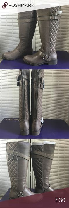 Madden Girl Calinda  riding boots Madden Girl taupe boots . Color is called Stone . Width B,M. Heel 1 1/4 inch, platform 1/4, shaft height 16 1/2 . Shaft width 16 1/2 . Materials polyurethane , fabric, TPR . Faux leather belted . Madden Girl Shoes