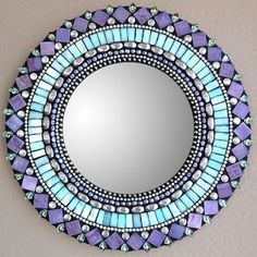 nice pattern for a mosaic garden table. Mirror Purple by Angie Heinrich. Glass and bead mosaic Mirror Mosaic, Mosaic Art, Mosaic Glass, Mosaic Tiles, Glass Art, Stained Glass, Glass Tiles, Mirror Mirror, Sea Glass
