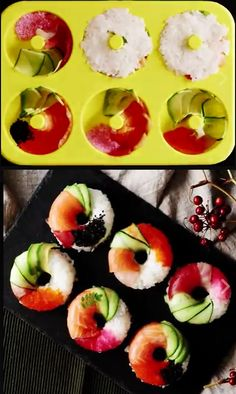 sushi made in donut mold Sushi Donuts, Sushi Cake, Sushi Party, Cute Food, Yummy Food, Tastemade Japan, Carb Cycling Diet, Asian Cooking, Japanese Food