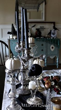 Gothic, Ghastly & Gory: Halloween Decorating Ideas : Hotel of Horrors: Macabre Halloween Decorating Ideas from Atta Girl Says Disney Halloween, Spooky Halloween, Halloween Tisch, Gothic Halloween Decorations, Theme Halloween, Halloween Home Decor, Holidays Halloween, Spooky Decor, Vintage Halloween