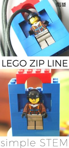 LEGO Zip line for kids STEM. Make a homemade LEGO zip line to explore physics with young kids!