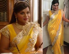 Mindy wore this beautiful ombré gold sari from Frontier Heritage ...