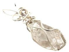 Herkimer Diamond Wire Wrapped Crystal Gem Pendant 11