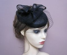 black button pillbox hat fascinator with short birdcage veil & sculpted bow ascot races wedding funerals cocktail formal hat
