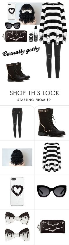 """""""the casual goth"""" by batty-belle ❤ liked on Polyvore featuring Paige Denim, Killstar, Zero Gravity and Karen Walker"""