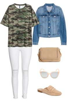 Camo tee and white jeans outfit idea - swap out slides for taupe quilted slip-on sneakers or Superstars Casual Skirt Outfits, Jean Outfits, Cute Outfits, Fashion Outfits, Camo Jeans Outfit, White Jeans Outfit, Camo Pants, Denim Pants, Camo Shirts