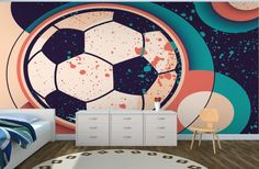 Paint Effect Soccer Ball Wall Mural | Murawall | Murawall