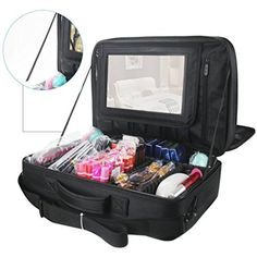 72ba5099c9a Travelmall 3 layer Multi Functional Professional Makeup Train Case Large  Makeup bag Organizer for Brush Hair Curler Salon Nail Beauty tool Attach to  Trolley ...