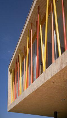 Image 1 of 27 from gallery of Los Nogales School / Daniel Bonilla Arquitectos. Photograph by Rodrigo Dávila Library Architecture, Colour Architecture, Education Architecture, Concept Architecture, Facade Architecture, School Architecture, Building Elevation, Building Facade, School Building Design