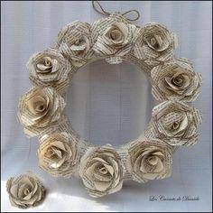 Couronne fleurs papier ancien