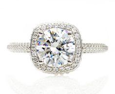 18K Moissanite Engagement Ring Diamond Halo 2ct Moissanite Ring Conflict Free Custom Engagement Ring