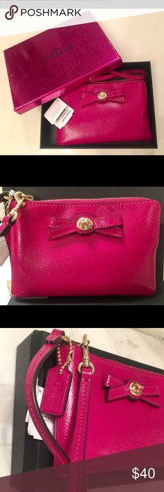 NWT Coach wristlet purse; wallet; clutch handbag Coach wristlet purse; wallet; handheld bag in fuchsia color.  Accent with a bow, this adorable wristlet has 2 open compartments inside.  Exterior: soft fuchsia leather. Interior: fully lined with matching color fabric for durability and cleanliness.  Hardware: gold. AUTHENTIC (refer #G1520-F64648). It comes with price tag and gift box as seen in photo. Coach Bags Clutches & Wristlets