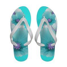 Teal blue purple flower Print Sandals
