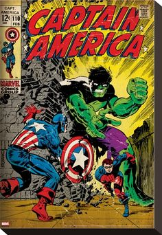 Marvel Comics Retro: Captain America Comic Book Cover No.110, with the Hulk and Bucky (aged) Posters at AllPosters.com