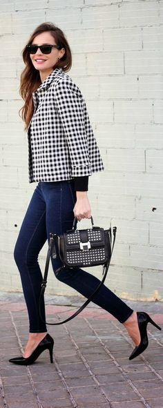 Cropped Gingham Jacket with High Waist Jeans and Black Pumps | Street Chic Outfits
