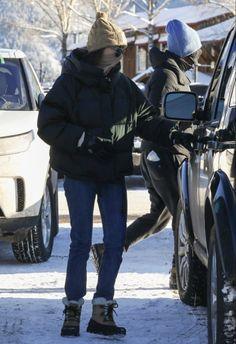 December 30, 2020 | Dakota and Chris in Aspen. #dakotajohnson Dakota Johnson Style, Dakota Mayi Johnson, Trouser Jeans, Wide Leg Jeans, The Shah Of Iran, We Wear, How To Wear, Denim Branding